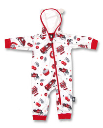 Six Bunnies Cherry Garage Hooded Romper
