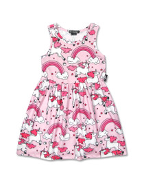 Six Bunnies Rainbow Unicorns Babydoll Dress