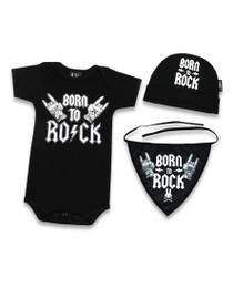 Six Bunnies Born to Rock Onesie, Bib and Beanie