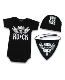 Six Bunnies Born to Rock 3 pcs Gift Set - Onesie, Beanie and Bib