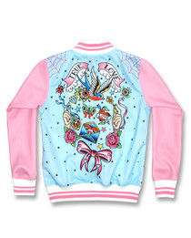 Six Bunnies True Love Girls Tattoo Rockabilly Jacket - back