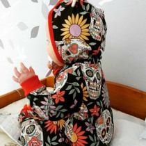Six Bunnies Sugar Skull Baby Hooded Romper - model