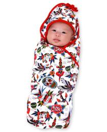 Six Bunnies Aloha TAttoo Shoppe Baby Wrap Blanket