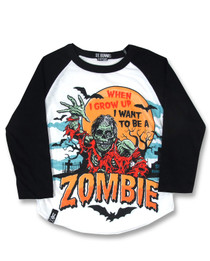 Six Bunnies Zombie Kids Raglan Top