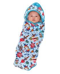Six Bunnies Blue Tattoo Shoppe Baby Wrap Blanket  - baby