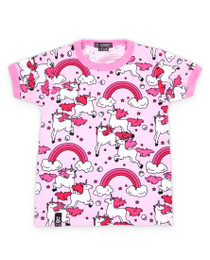 Six Bunnies Rainbow Unicorns Girls Tee Shirt