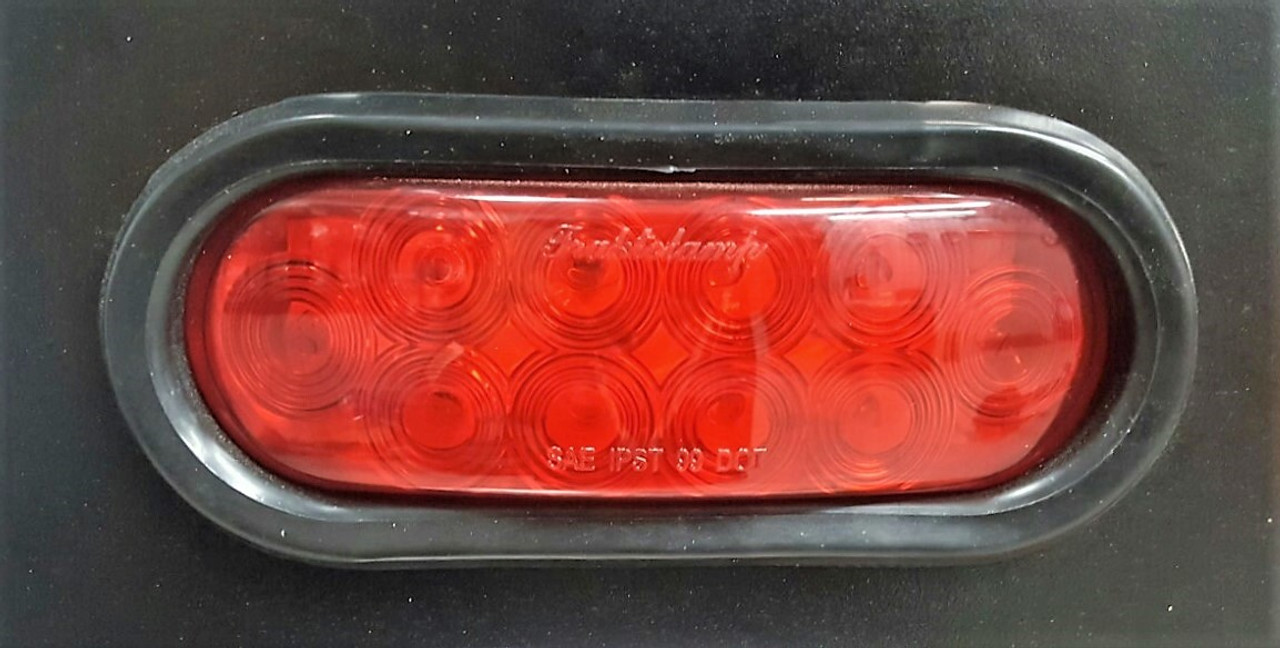 """6"""" Oval Red Stop, Turn, and Tail Strobe Light Grommet Kit"""