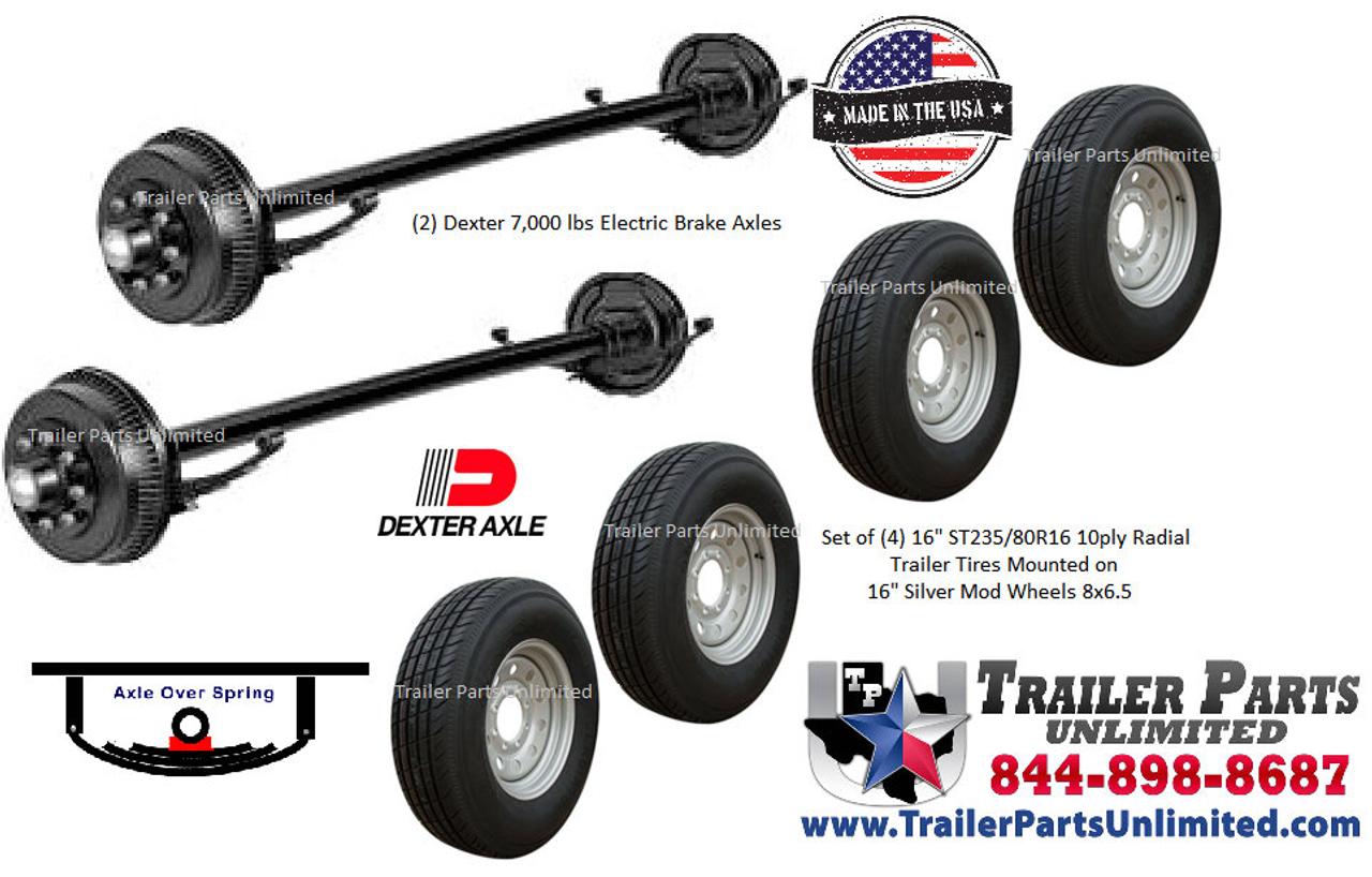 Dexter 14K Tandem Axle Trailer Tire Wheel Bundle - Trailer Parts ...