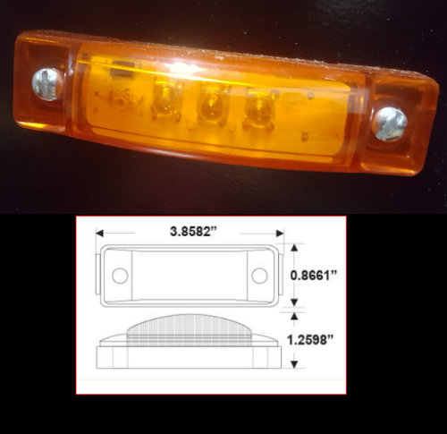 Rectangular Amber Side Marker Light