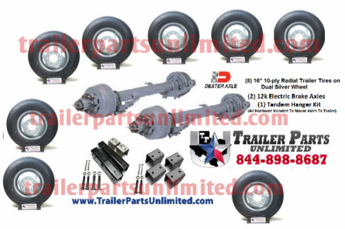"""24k Trailer Kit. 2 - 12k Dexter electric brake axles with all hardware needed to mount to trailer. Bonus (8) 16"""" 10ply tires and wheels mounted. Trailer Parts Unlimited"""