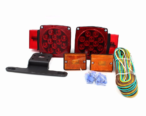 TPU LED Trailer Light Kit Under/Over 80'' Waterproof-2 Red LED Stop Turn Tail Light License Bracket Harness 2 Side Markers