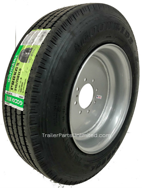 215/75R 17.5 16-Ply Goodride All Steel on Silver Mod 8x6.5