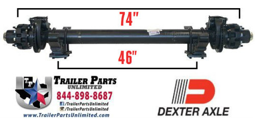 "12k Dexter 74""/46"" Hydraulic Disc Brake Axle 8x6.5"" w/ springs Oil Bath"