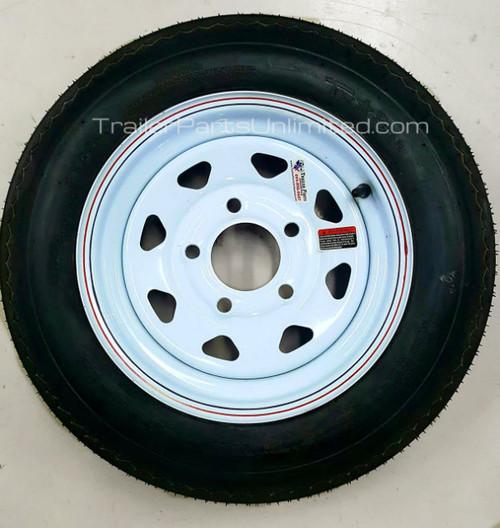 """4.80-12 6-Ply Taskmaster Bias Tire on White Spoke 5x4.5"""""""