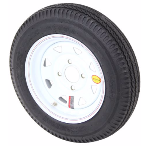 """4.80-12 6-Ply Taskmaster Bias Tire on White Spoke Wheel 4x4"""""""