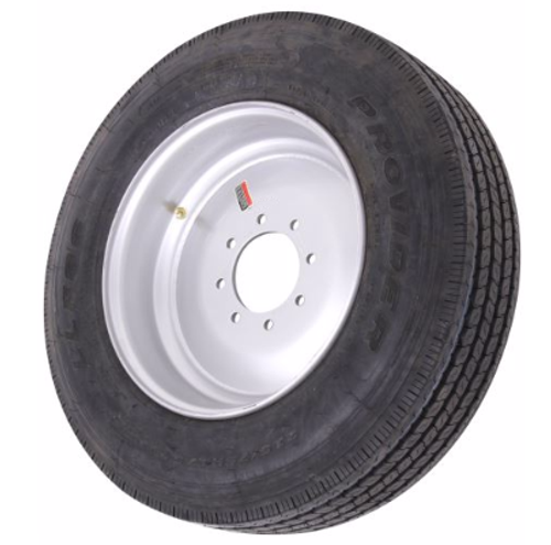 "215/75R17.5 16-Ply Provider All Steel Tire on Solid Single Silver Wheel 8x6.5"" .19OS"