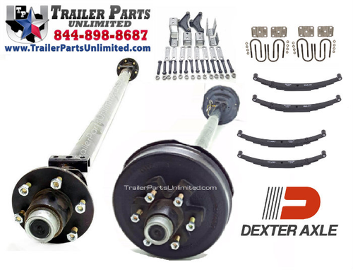 12k Dexter Tandem Axle Trailer Kit - One Electric Brake Axle, One Idler Axle