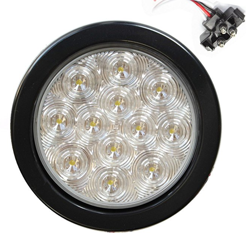 "4"" Round Clear 10 LED Back-up Reverse Light Kit Include Grommet, Plug Clear Lens"