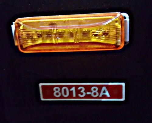 """4"""" x 1"""" Rectangle Amber 8 LED Marker Light w/ 2 prong plug & base"""