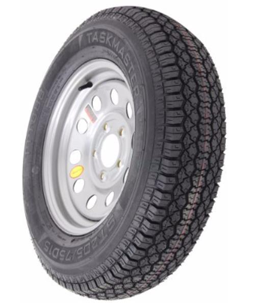 "ST205/75D15 6-Ply Taskmaster Bias Tire on Silver Mod Wheel 5x5"""