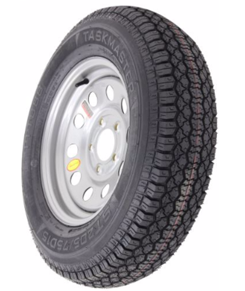 "ST205/75D15 6-Ply Taskmaster Bias Tire on Silver Mod Wheel 5x4.5"""