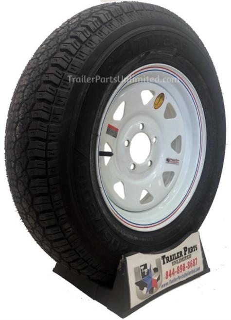 "ST205/75D15 6-Ply Taskmaster Bias Tire on White Spoke Wheel 5x4.5"""