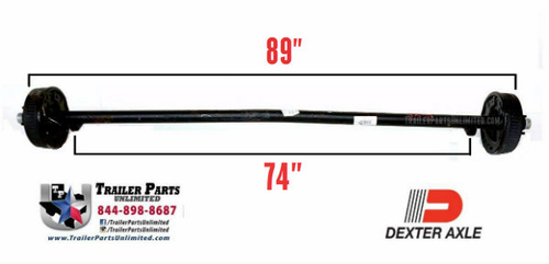 "3.5k Dexter 89""/74"" Electric Brake Axle 5x4.5"" Cambered E-Z Lube Grease"