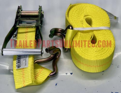 """2"""" x 30' Ratchet Strap Assembly w/ Wire Hooks"""