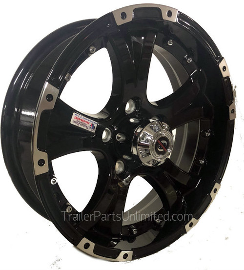"15"" x 6"" Black Machined Aluminum Wheel 6x5.5"" w/ Chrome Cap"