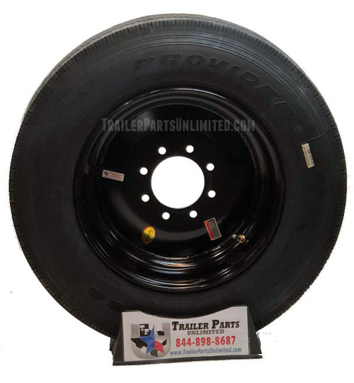 215/75R17.5 16-Ply Provider All Steel Tire on Solid Black Wheel 8x6.5""