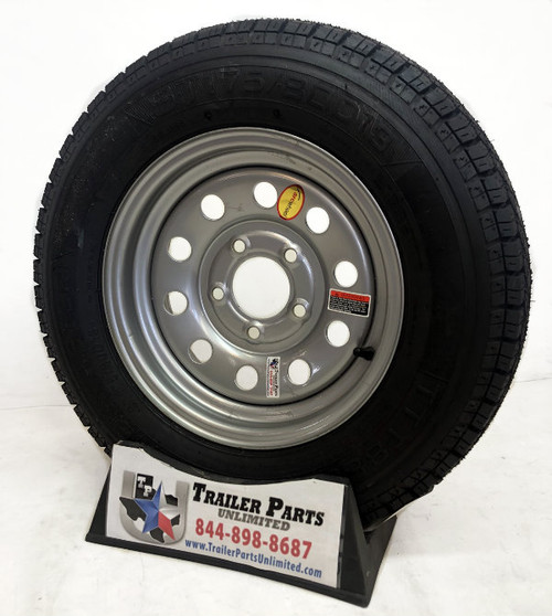 "ST175/80D13 6-Ply Taskmaster Bias Tire on Silver Mod Wheel 5x4.5"""
