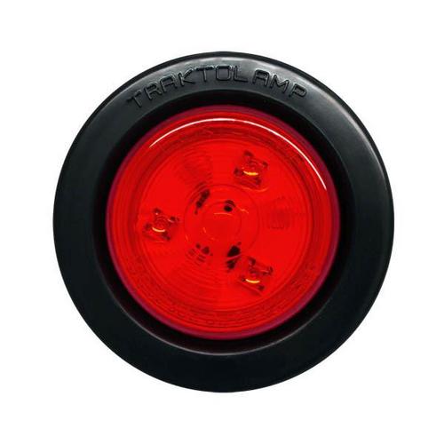 "2-1/2"" Round Red 3 LED Marker Light w/ Rubber Grommet 2 Prong Plug"