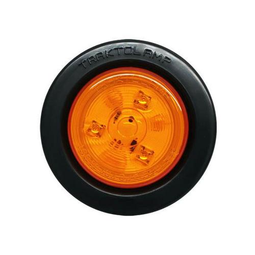 "2-1/2"" Round Amber 3 LED Marker Light w/ Rubber Grommet 2 Prong Plug"