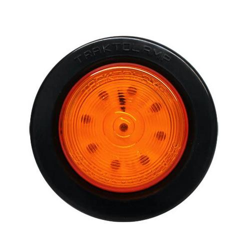 "2"" Round Amber 9 LED Marker Light w/ Rubber Grommet 2 Prong Plug"