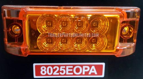 "6"" x 2"" Rectangular Amber 8-LED Marker Clearance Light w/ 2 1 Prong Plugs"
