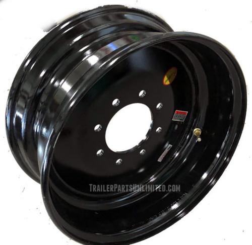 "17.5"" x 6.75"" Black Solid Single Wheel 8x6.5"" -.19 Offset"