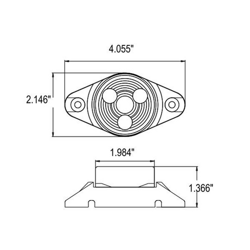 "2"" Round Amber 3 LED Sealed Marker Light w/ Rotating Motion Gray Base for Mounting"