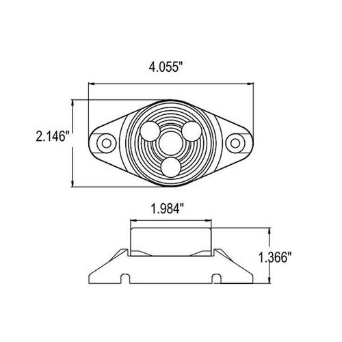 "2"" Round 3 LED Sealed Marker Light w/ Rotating Motion Gray Base for Mounting"