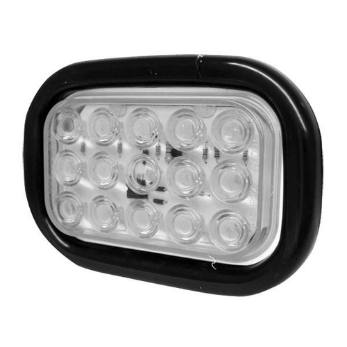 "6-1/2"" x 4-1/2"" Rectangular Clear 15 LED Reverse Backup Light w/ Rubber Grommet 3 Prong Plug"