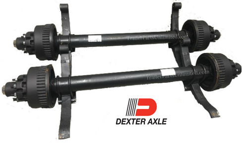"12k Dexter 74""/46"" Electric Brake Axle 8x6.5"" w/ Springs Oil Bath"
