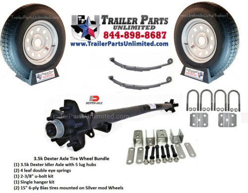 3.5k Idler Trailer Axle Kit W/ All Hardware & Tires