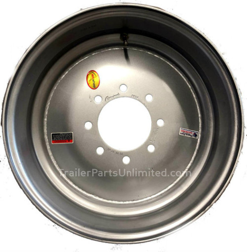 """17.5"""" x 6.75"""" Silver Solid Single Wheel 8x6.5"""" -.19 Offset"""