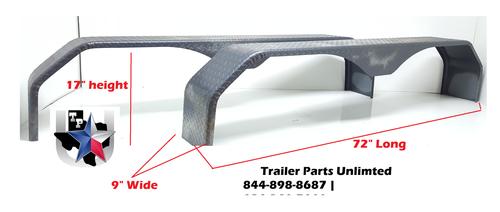 """Tandem Double Broke Tear Drop Tread Plate Trailer Fender 72""""x9""""x17"""""""