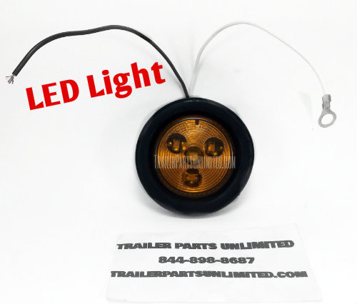 "2"" LED Amber Round Sealed Lamp w/ Grommet & Wiring Harness"
