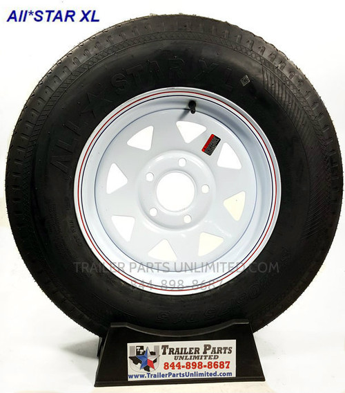 "15"" ST205/75D15 6-Ply Bias Trailer Tire Mounted on 15"" White Spoke Wheel 5 on 4.5"""
