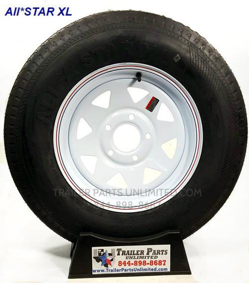 "15"" ST205/75D15 6-Ply Bias Trailer Tire Mounted on 15"" White Spoke Wheel 5 on 4.5"""