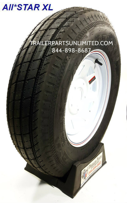 "Trailer Tire and wheel combo. Tire wheel mounted.  15"" Specialty Trailer Tire mounted on White spoke wheel"