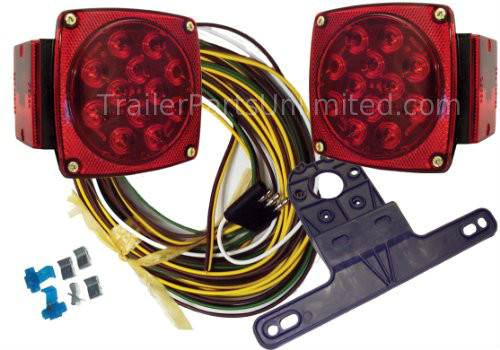 """Universal LED Submersible Marine & Boat Trailer Light Kit For Under 80"""" Wide Trailers"""