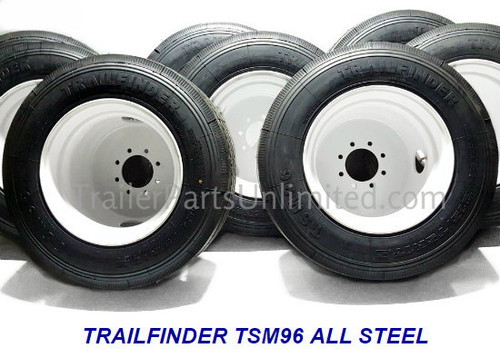 215/75R17.5 16 Ply Trailfinder HT All Steel Tire on White Dual Wheel 8x6.5""
