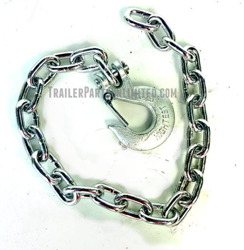 "Gooseneck safety chains with clevis slip latch hook, .375"" x 35"" Grade 43"